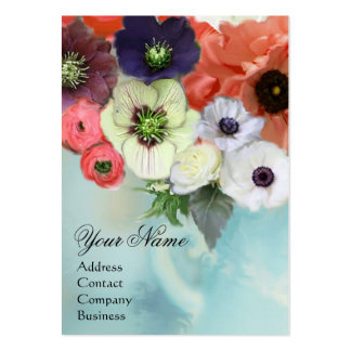 WHITE PINK RED ROSES AND ANEMONE FLOWERS MONOGRAM BUSINESS CARD TEMPLATE