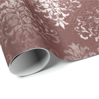 White Pink Rose Gold Floral Grungy Gray Grass Meta Wrapping Paper