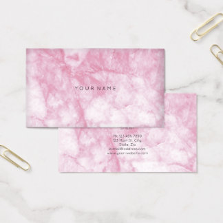White Pink Rose Marble Vip Abstract Minimal Vip Business Card