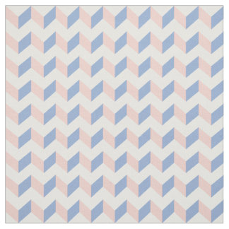 White Pink Rose Quartz Blue Geometric Chevron 2016 Fabric