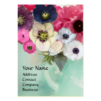 WHITE PINK ROSES AND ANEMONE FLOWERS MONOGRAM BUSINESS CARDS