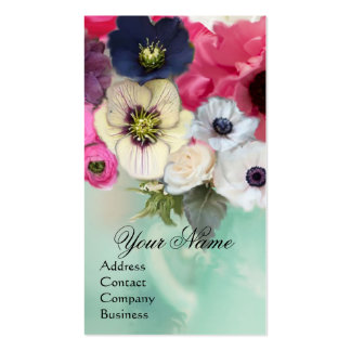 WHITE PINK  ROSES AND ANEMONE FLOWERS MONOGRAM BUSINESS CARD TEMPLATE