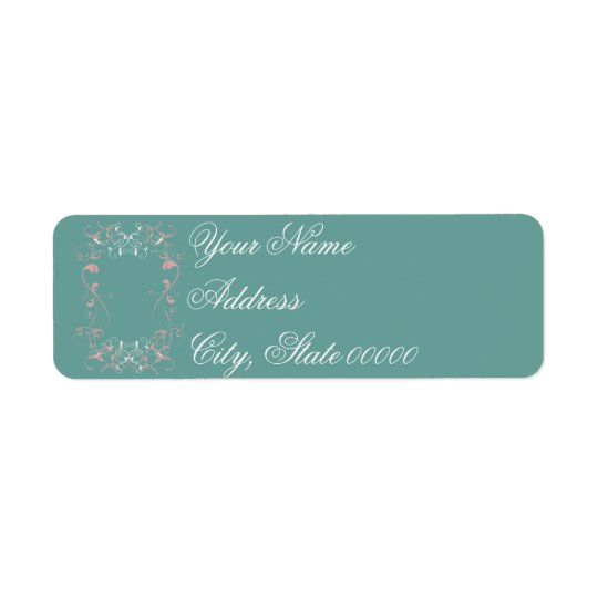 White & Pink Swirls on Teal Wedding Return Address Label