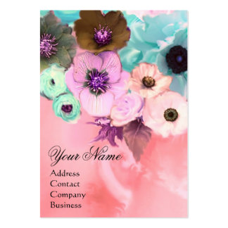 WHITE PINK TEAL ROSES AND ANEMONE FLOWERS MONOGRAM BUSINESS CARDS