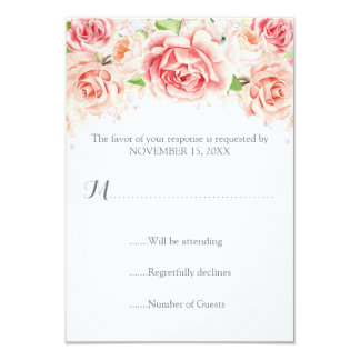 White Pink Watercolor Floral Wedding RSVP Card