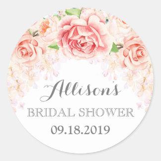 White Pink Watercolor Flowers Bridal Shower Round Sticker