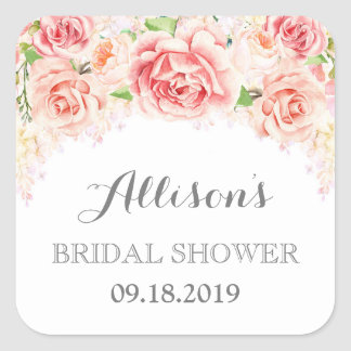 White Pink Watercolor Flowers Bridal Shower Square Sticker