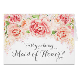 White Pink Watercolor Maid of Honour Invite Card