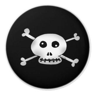 white pirate skulls cartoon ceramic knob