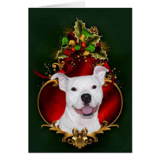 White pitbull Christmas Card