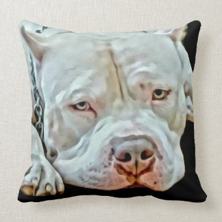 White Pitbull Dog Animal K9 Pit Bull Breed Cushion