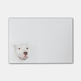 White pitbull terrier face post-it notes