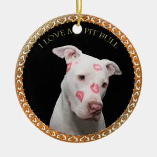 White pitbull with red kisses all over his face. ceramic ornament
