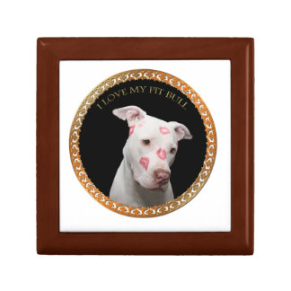 White pitbull with red kisses all over his face. gift box