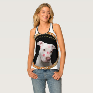 White pitbull with red kisses all over his face. singlet