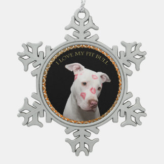 White pitbull with red kisses all over his face. snowflake pewter christmas ornament