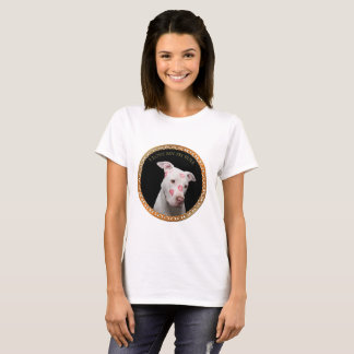 White pitbull with red kisses all over his face. T-Shirt