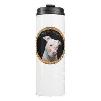 White pitbull with red kisses all over his face. thermal tumbler