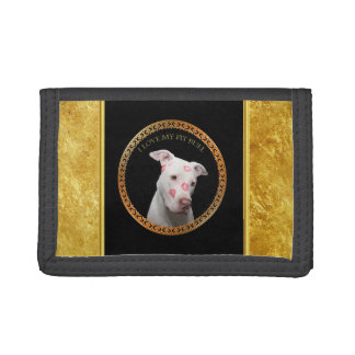 White pitbull with red kisses all over his face. tri-fold wallets