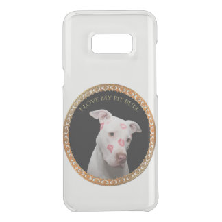 White pitbull with red kisses all over his face. uncommon samsung galaxy s8 plus case