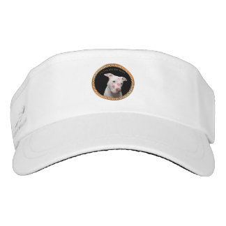 White pitbull with red kisses all over his face. visor