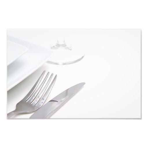 White place setting photo print