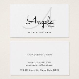white plain pro contact-card / original monogram business card