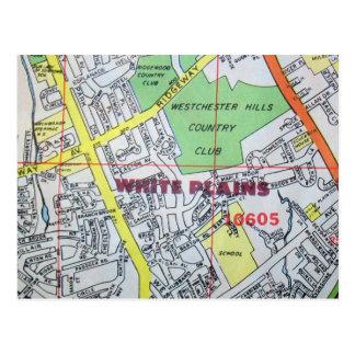 WHITE PLAINS, NY Vintage Map Postcard