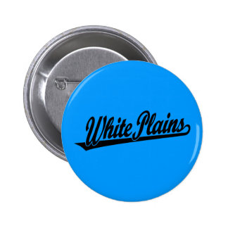 White Plains script logo in black Pinback Button