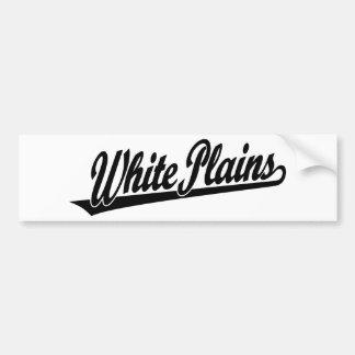 White Plains script logo in black Car Bumper Sticker