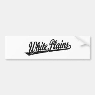 White Plains script logo in black distressed Car Bumper Sticker