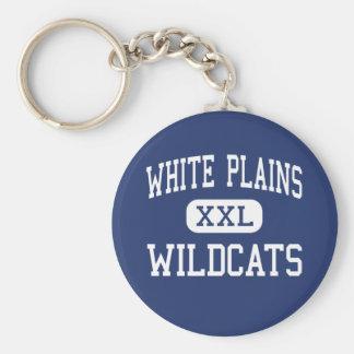 White Plains - Wildcats - High - Anniston Alabama Basic Round Button Key Ring