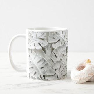 White Plaster Floral Relief Mug