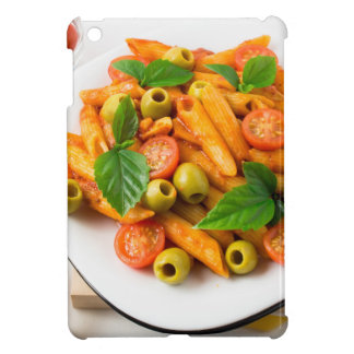 White plate of penne pasta decorated with cherry iPad mini cases