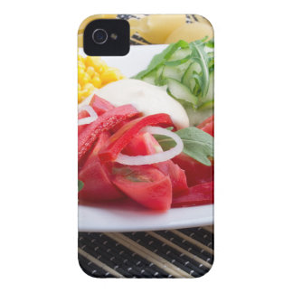 White plate with slices of fresh tomatoes iPhone 4 cover