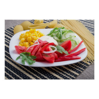 White plate with slices of fresh tomatoes poster