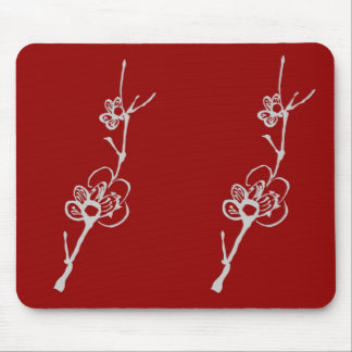 White Plum Blossoms on Red Mousepad