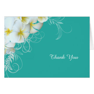 White Plumeria Flourish Blue Custom Thank You Note Note Card