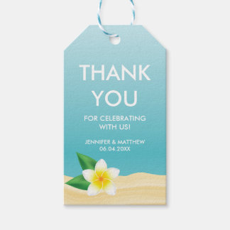 White Plumeria Flower Beach Wedding Thank You Gift Tags