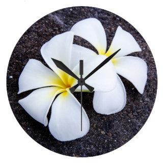 White Plumeria Flower Frangipani Floral Lava Rock Clock
