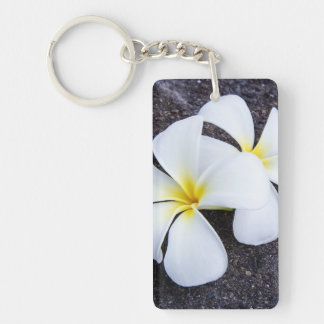 White Plumeria Flower Frangipani Floral Lava Rock Single-Sided Rectangular Acrylic Key Ring