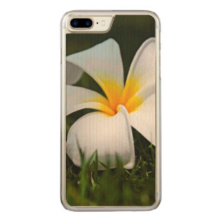 White Plumeria Frangipani Hawaii Flower Carved iPhone 7 Plus Case