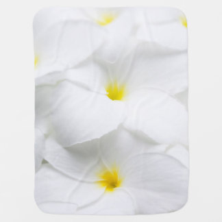 White Plumeria Frangipani Hawaiian Tropical Flower Baby Blanket