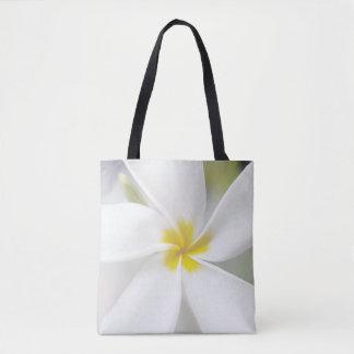 White Plumeria - Macro Portrait Tote Bag