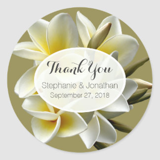 White Plumeria Wedding Thank You Favour Stickers