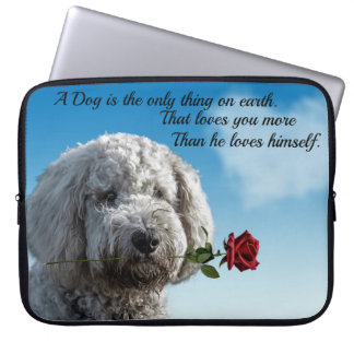 White poddle dog puppy with a red rose Dog Quote Laptop Sleeve