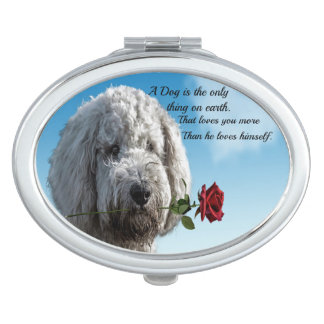 White poddle dog puppy with a red rose Dog Quote Vanity Mirror
