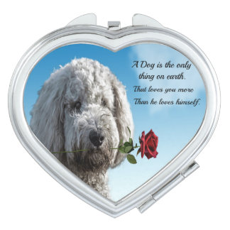 White poddle dog puppy with a red rose Dog Quote Vanity Mirrors