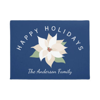 White Poinsettias, Happy Holidays, Personalized Doormat