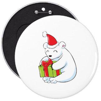 White Polar Bear Christmas Custom Mugs Buttons Hat